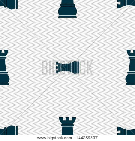Chess Rook Sign. Seamless Pattern With Geometric Texture. Vector
