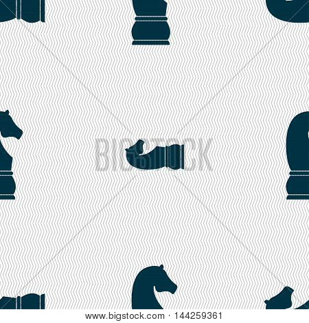 Chess Knight Icon. Sign. Seamless Pattern With Geometric Texture. Vector