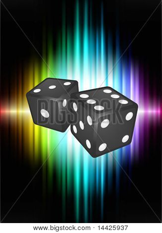 Dice on Abstract Spectrum Background  Original Illustration