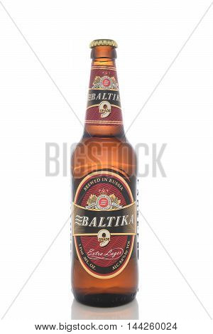 IRVINE CALIFORNIA - AUGUST 25 2016: A bottle of Baltika Lager. Baltika is the second largest brewing company in Russia.