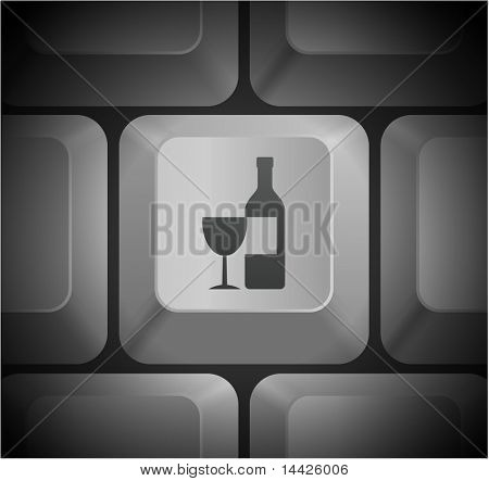 Wine Icon on Computer Keyboard Original Illustration