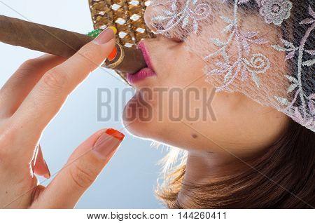 Woman Smoking A Cigar. Sexy Smoking Beautiful Woman Cigar Closeup Studio Shot