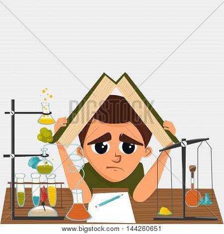 A cartoon illustration of a school student in chemistry class. Vector illustration