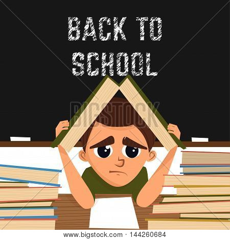 Cartoon illustration with school pupil in the classroom.Nappis back to school. Vector illustration