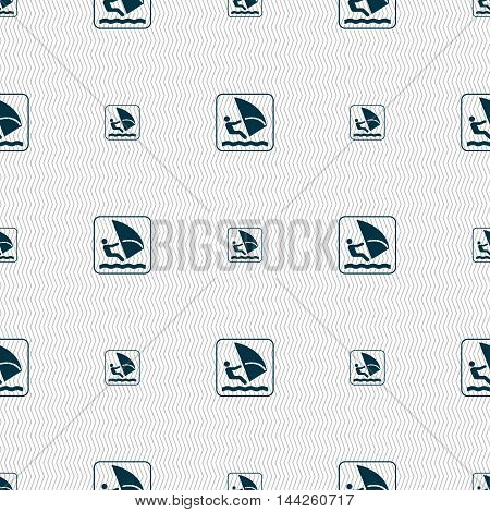 Windsurfing Sign. Seamless Pattern With Geometric Texture. Vector
