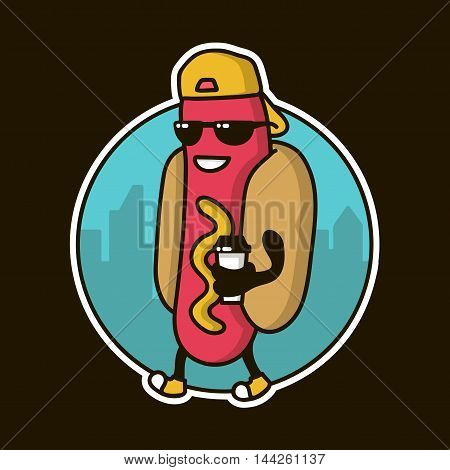 Cool Guy Hotdog character with coffee cap walking on the street. logo template design, badge for fast food restaurant