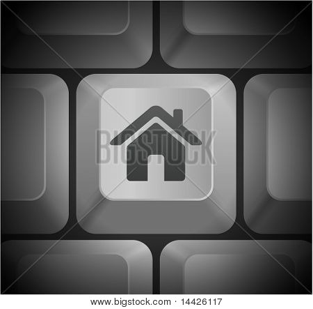House Icon on Computer Keyboard Original Illustration