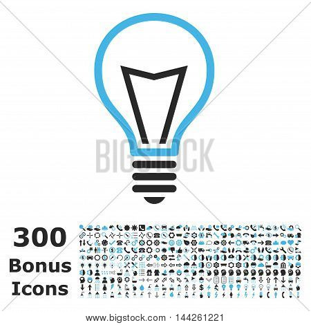 Lamp Bulb icon with 300 bonus icons. Vector illustration style is flat iconic bicolor symbols, blue and gray colors, white background.