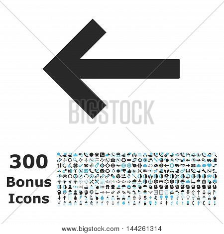 Left Arrow icon with 300 bonus icons. Vector illustration style is flat iconic bicolor symbols, blue and gray colors, white background.