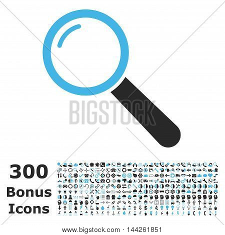 Magnifier icon with 300 bonus icons. Vector illustration style is flat iconic bicolor symbols, blue and gray colors, white background.