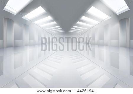 Large empty hall. Vector illustration.