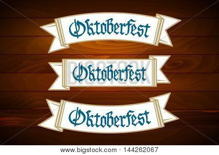 Oktoberfest Banner On Old Wooden Texture Vector