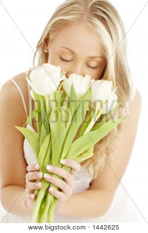 Happy Blond With White Tulips