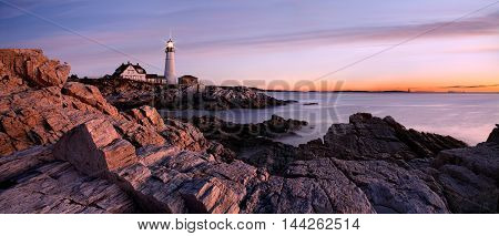 Sunrise Starts Another New England Day At The Portland Head Light Portland Maine USA
