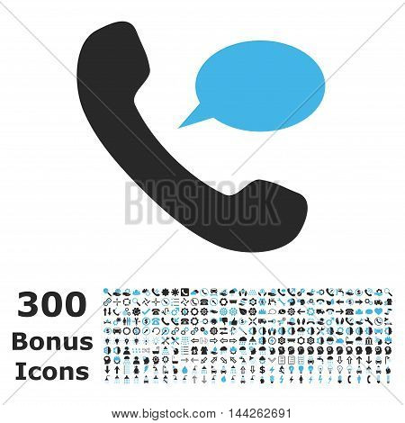 Phone Message icon with 300 bonus icons. Vector illustration style is flat iconic bicolor symbols, blue and gray colors, white background.