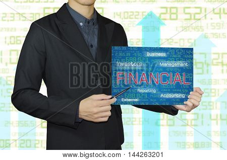 businessman hand showing white board and finance and banking concept.