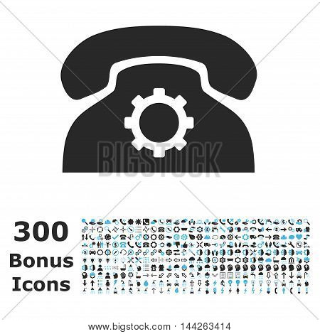 Phone Settings icon with 300 bonus icons. Vector illustration style is flat iconic bicolor symbols, blue and gray colors, white background.
