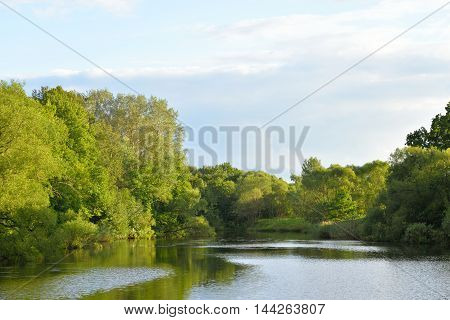 The photo of lake at summer day in Russia.