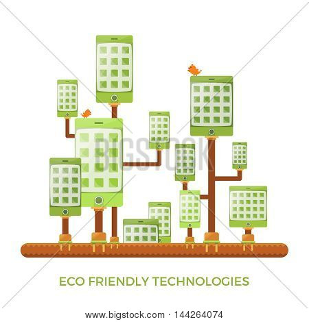 Eco Friendly Green Gadget Technologies Vector Concept In Flat Style