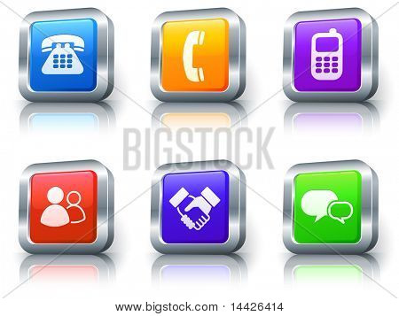 Communication Icons on Square Button with Metallic Rim Collection Original Illustration