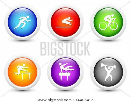 Athlete Icons on Simple Round Button Collection Original Illustration