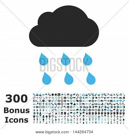 Rain Cloud icon with 300 bonus icons. Vector illustration style is flat iconic bicolor symbols, blue and gray colors, white background.