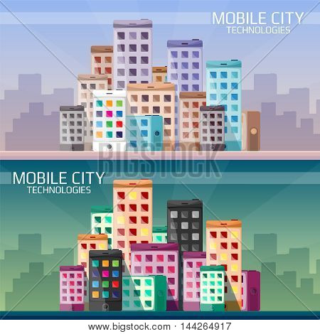 Mobile Technologies In The City Horizontal Banners Set