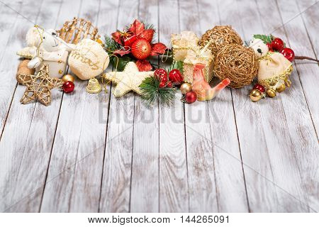 Christmas decoration on the wooden background. Winter holidays concept. New Year of rooster.