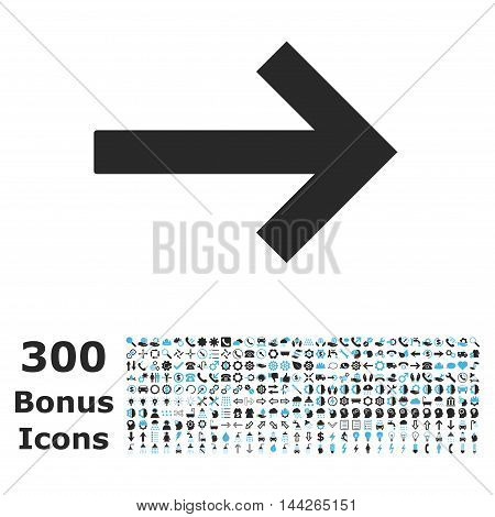 Right Arrow icon with 300 bonus icons. Vector illustration style is flat iconic bicolor symbols, blue and gray colors, white background.