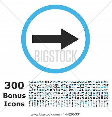 Right Rounded Arrow icon with 300 bonus icons. Vector illustration style is flat iconic bicolor symbols, blue and gray colors, white background.