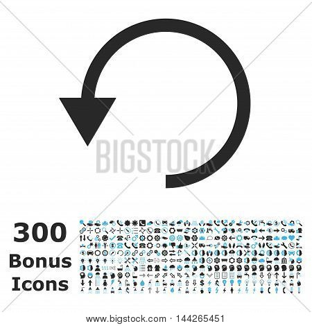 Rotate Ccw icon with 300 bonus icons. Vector illustration style is flat iconic bicolor symbols, blue and gray colors, white background.