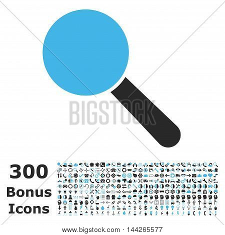 Search Tool icon with 300 bonus icons. Vector illustration style is flat iconic bicolor symbols, blue and gray colors, white background.