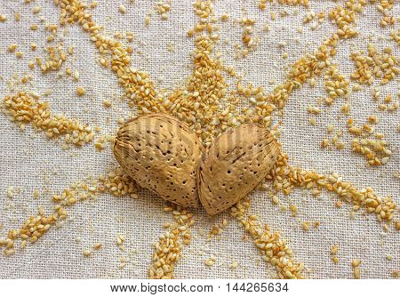 Two almond nuts in a heart shape. Sesame seeds in the shape of a sun. Concept - wonderful mood love.
