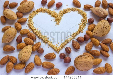 Symbol - the heart consisting of sesame. Around a variety of nuts - walnuts almonds hazelnuts. Concept - healthy food.