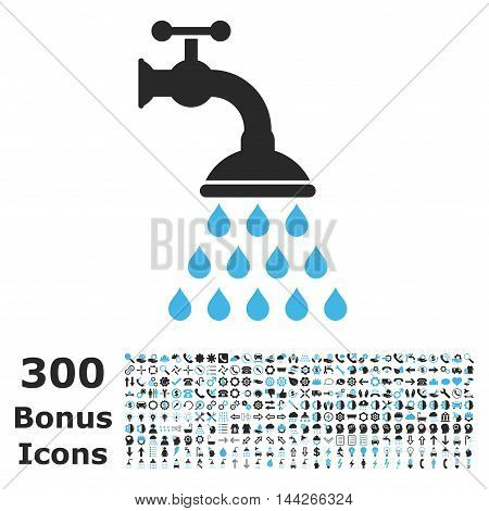Shower Tap icon with 300 bonus icons. Vector illustration style is flat iconic bicolor symbols, blue and gray colors, white background.