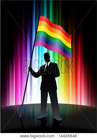 Gay Flag with Businessman on Abstract Spectrum Background Original Illustration