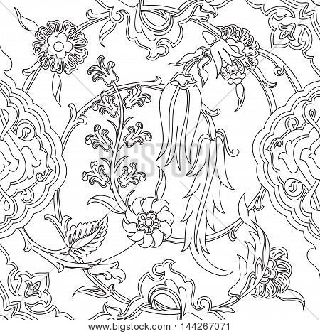 Vector tile oriental floral doodle ethnic drawing arabic pattern floral ancient arabesque floral curled pattern tile black and white colors