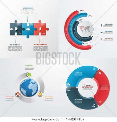 3 Steps Vector Infographic Templates. Business Concept.