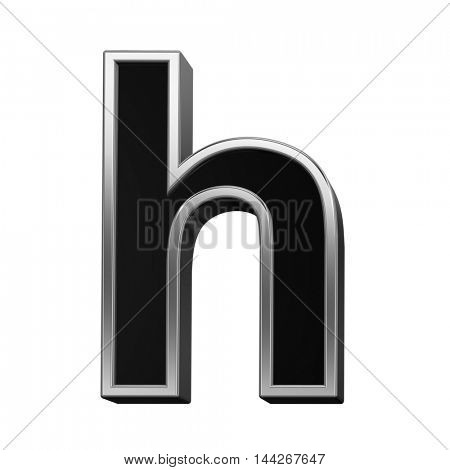 One lower case letter from black with silver shiny frame alphabet set, isolated on white. 3D illustration.