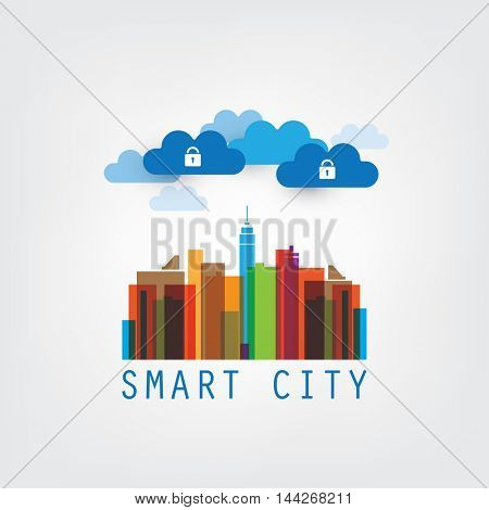 Colorful Smart City, Internet of Things, Safe Data Center Concept - Vector Design