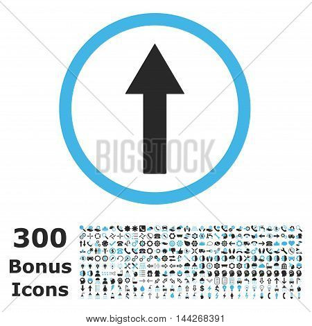 Up Rounded Arrow icon with 300 bonus icons. Vector illustration style is flat iconic bicolor symbols, blue and gray colors, white background.