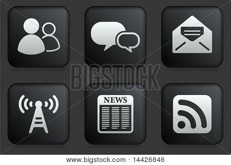 Ícones de comunicação na ilustração Original de coleção de botão quadrado preto