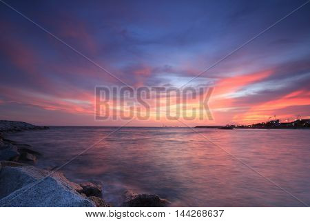 the beautiful twilight sunset over sea in Thailand