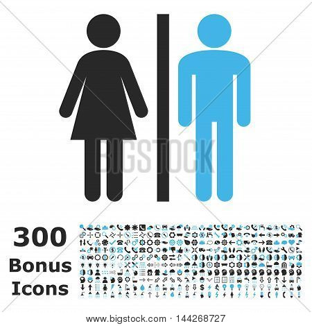WC Persons icon with 300 bonus icons. Vector illustration style is flat iconic bicolor symbols, blue and gray colors, white background.