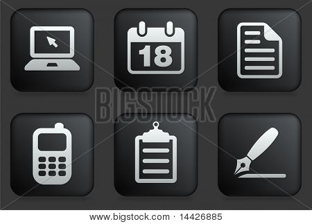 Equipment Icons on Square Black Button Collection Original Illustration