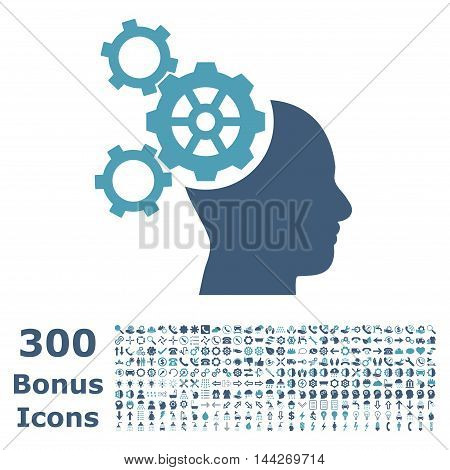 Brain Mechanics icon with 300 bonus icons. Vector illustration style is flat iconic bicolor symbols, cyan and blue colors, white background.