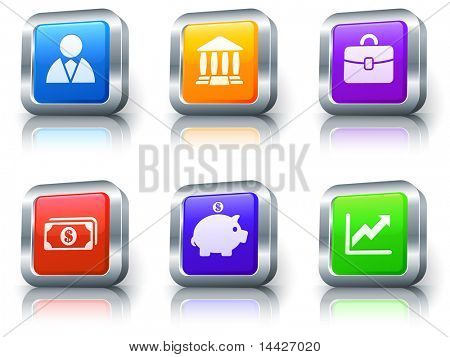 Economy Icons on Square Button with Metallic Rim Collection Original Illustration