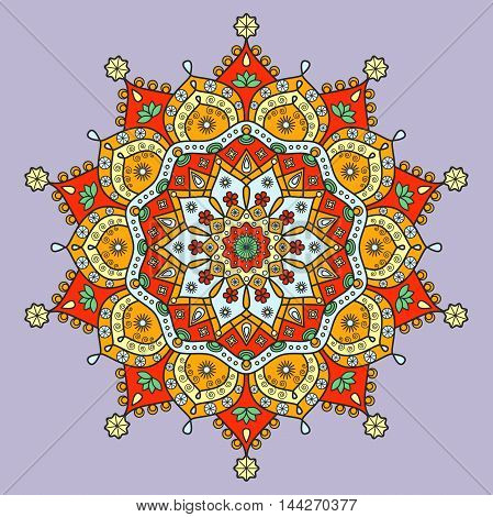 Floral mandala ornament in red, orange, green, yellow & blue on pale violet background.