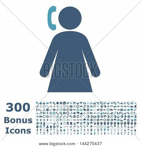 Calling Woman icon with 300 bonus icons. Vector illustration style is flat iconic bicolor symbols, cyan and blue colors, white background.