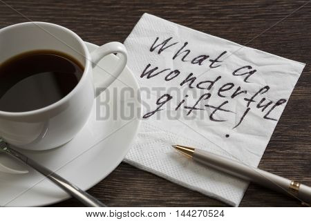 Phrase written on napkin